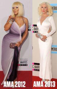 Comparaison avant après Christina Aguilera aux AMA 2012 et 2013
